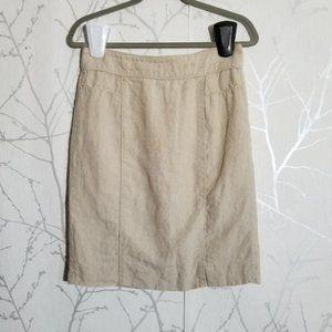 Banana Republic Beige Linen Pencil Skirt